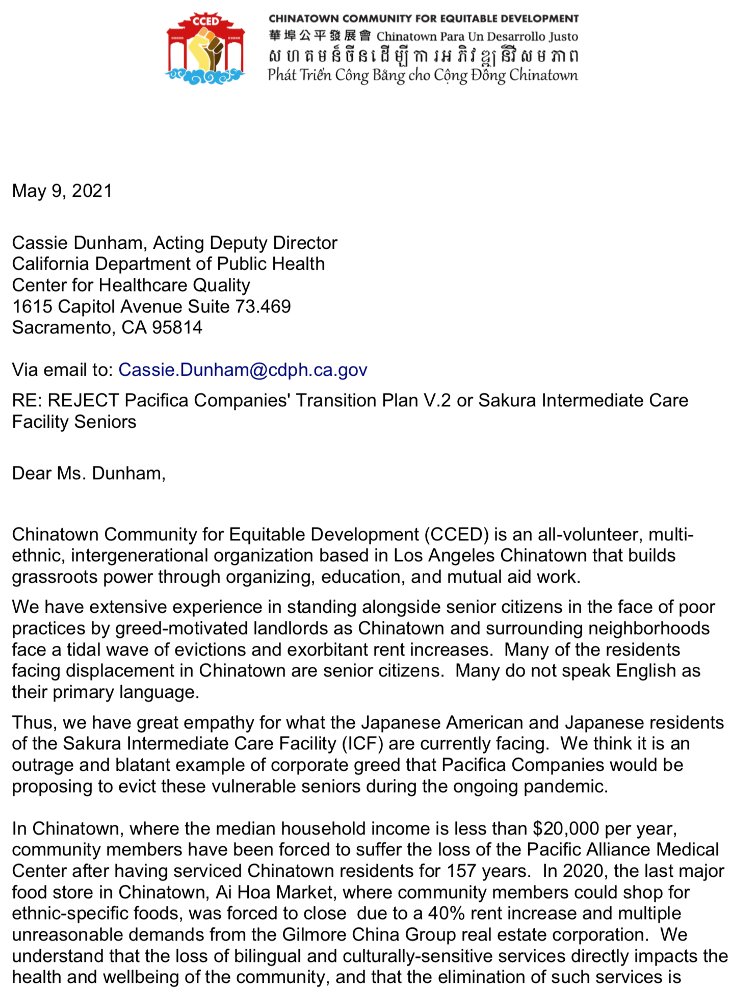 CCED letter to CDPH to Reject Plan v.2 1of2