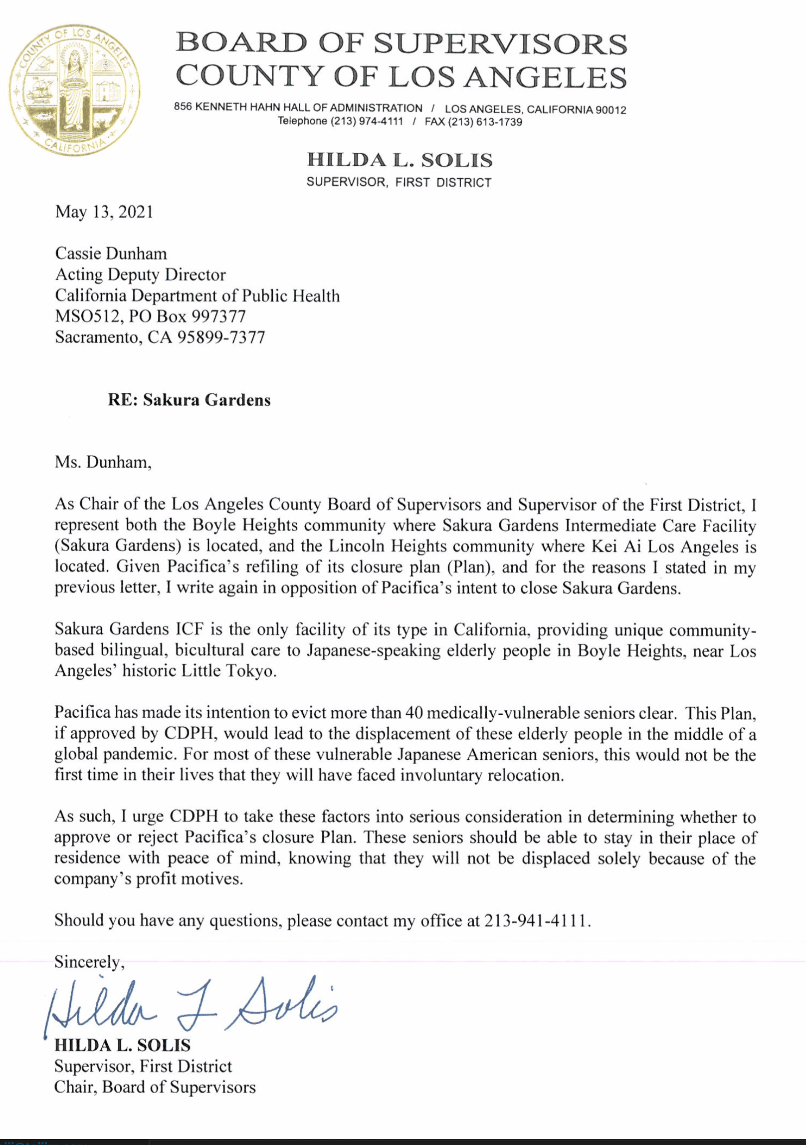 Hilda Solis - Letter to CDPH - Pacifica Plan V2