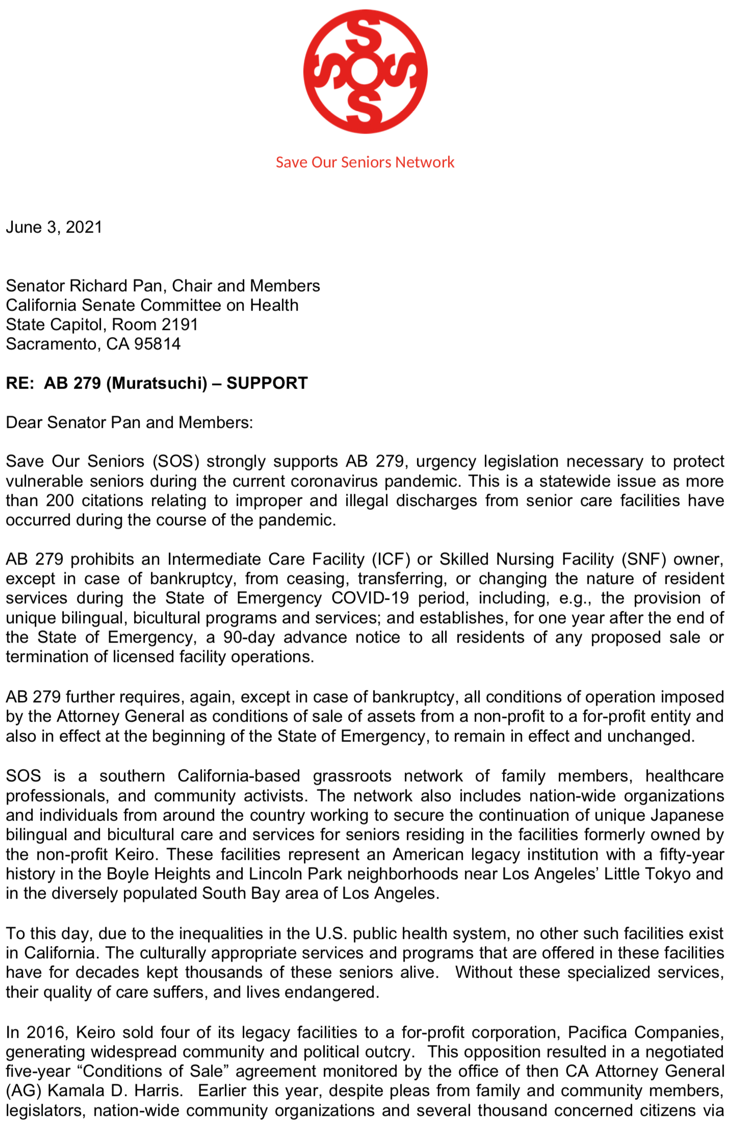 SOS Letter to Senate Comm on Health 1of2