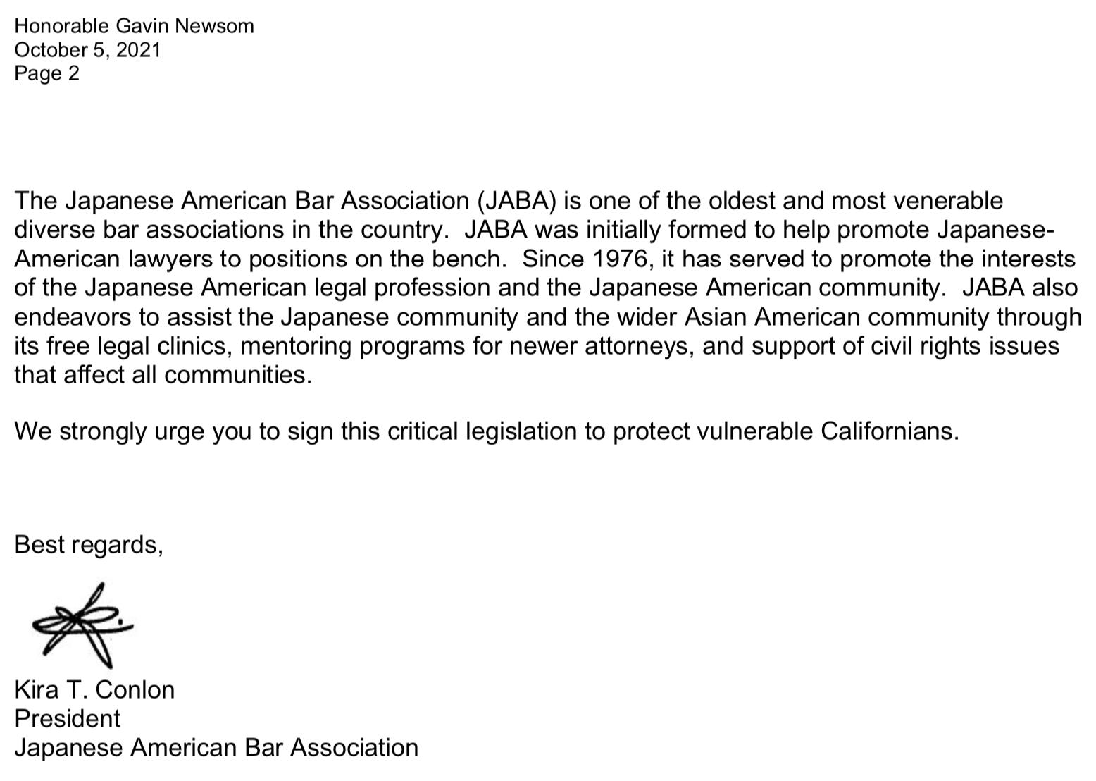 JABA AB 279 Letter to Newsom 2of2